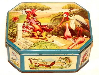 Pomona Nursery Rhyme Fable Fox Stork Bird Syrup Tin 1930s Ebay