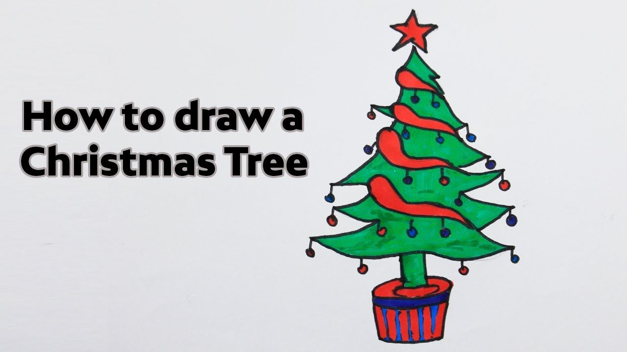 How To Draw A Christmas Tree And Star Easy And Cute Easy Drawings Drawings Draw