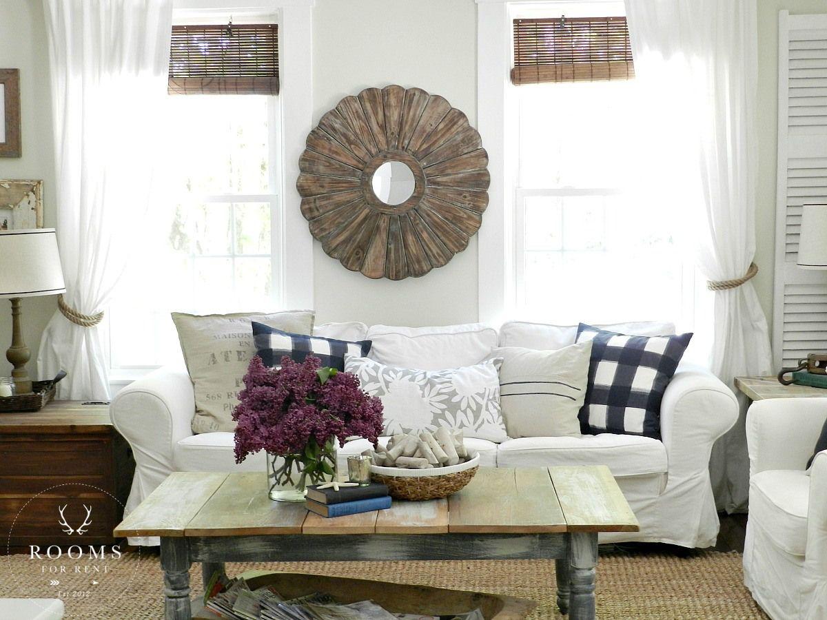 Farmhouse style living room, white slip covered sofa, jute rug ...