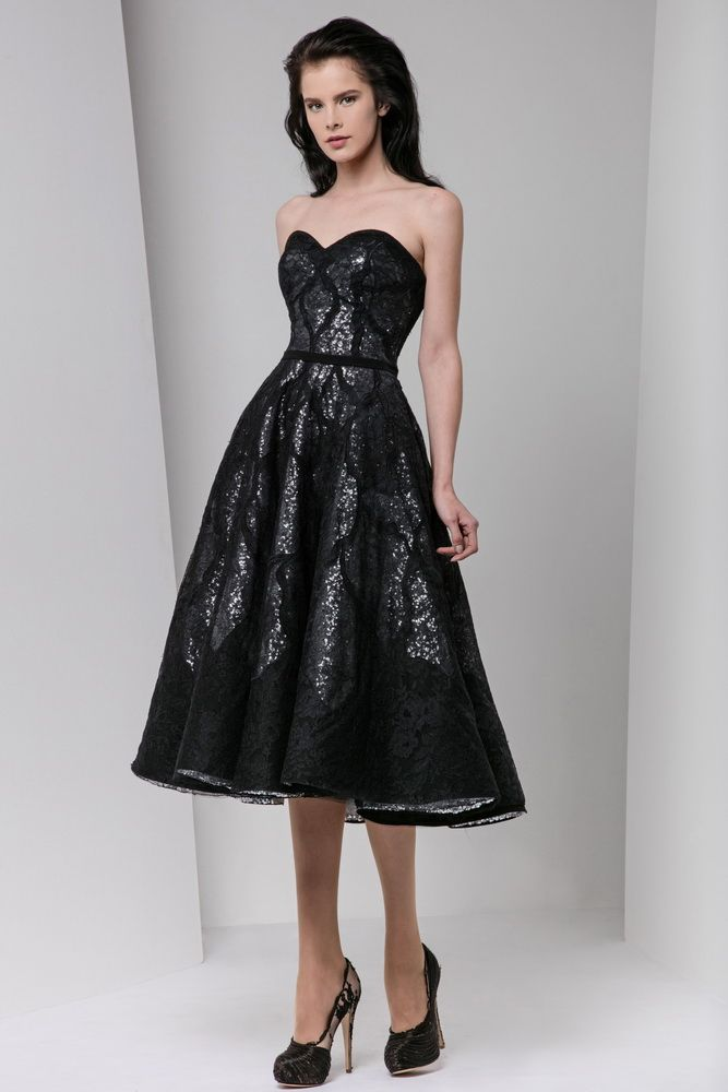 Tony Ward Fall Winter 2016 17 This Black Sequined Lace Strapless Tea Length Dress Is Glamorous And Cly