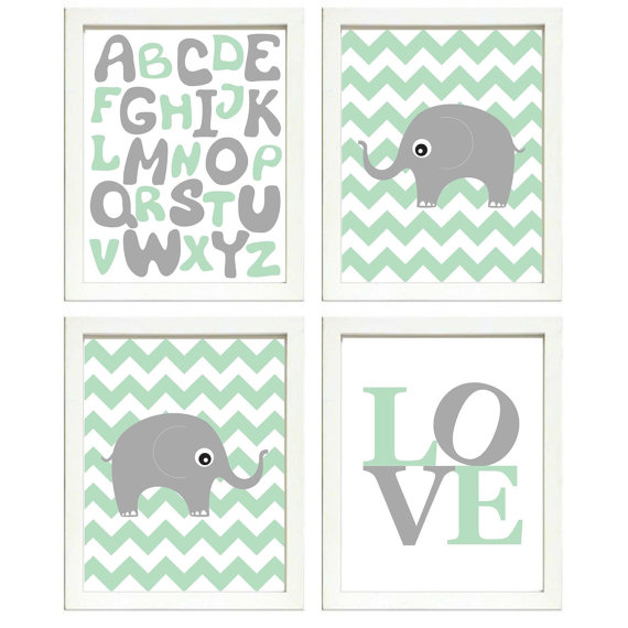 Best Instant Download Mint Green Grey Elephant Nursery By 640 x 480