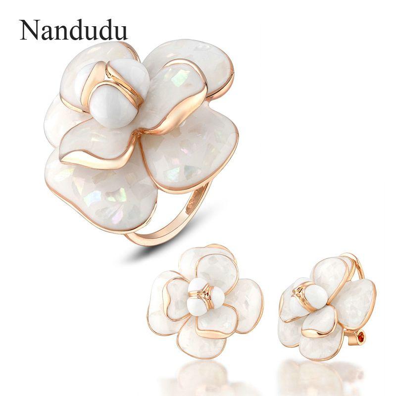 Nandudu #Blooming #Flower #Ring #Earrings #Jewelry #Sets Rose Gold Color Metal Women Female Ring Earring Jewelry #Gift R681 E36 #aliseller360
