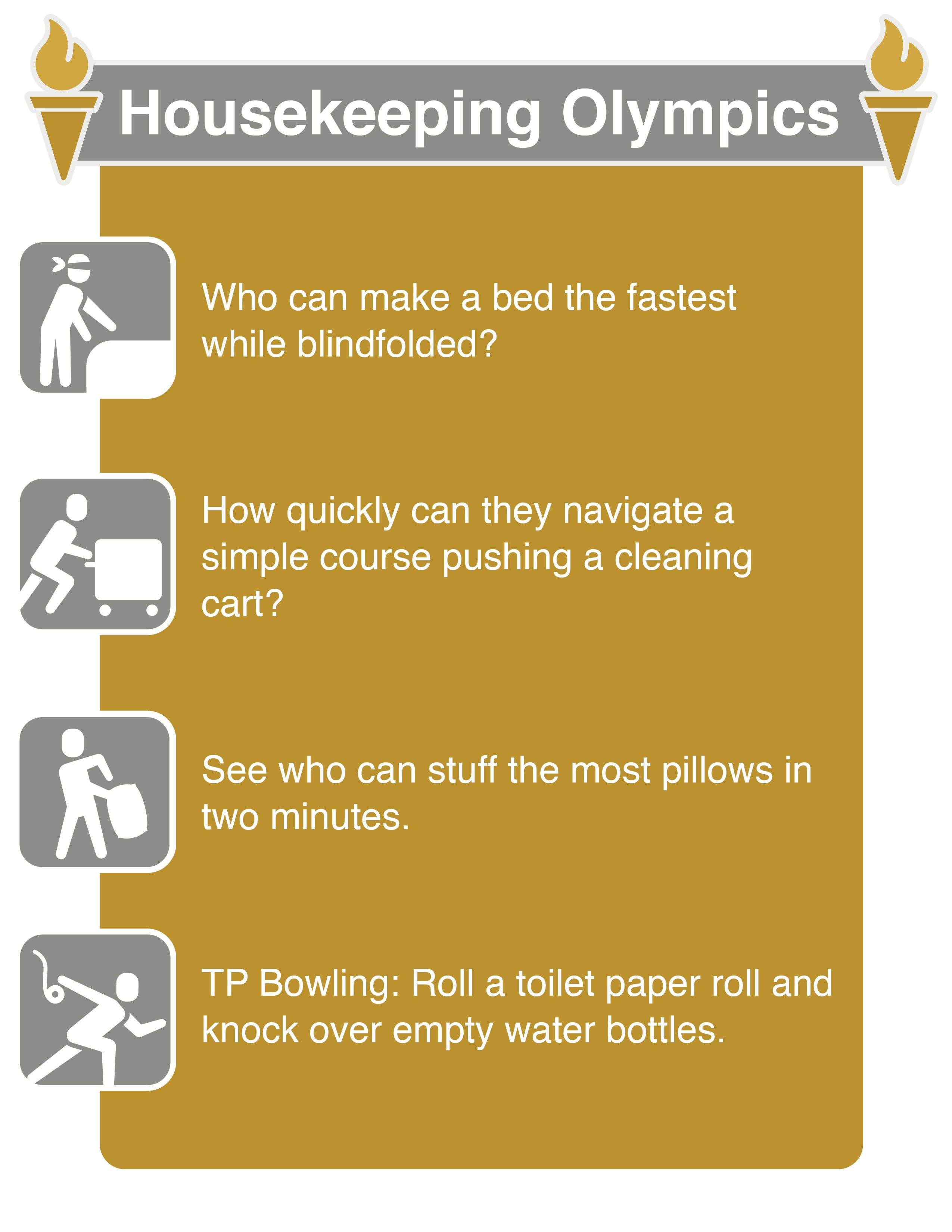 get ready for this years housekeeping olympics try these events 1 who can - How To Get A Housekeeping Job