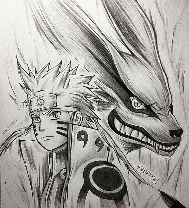 Naruto and kurama drawing