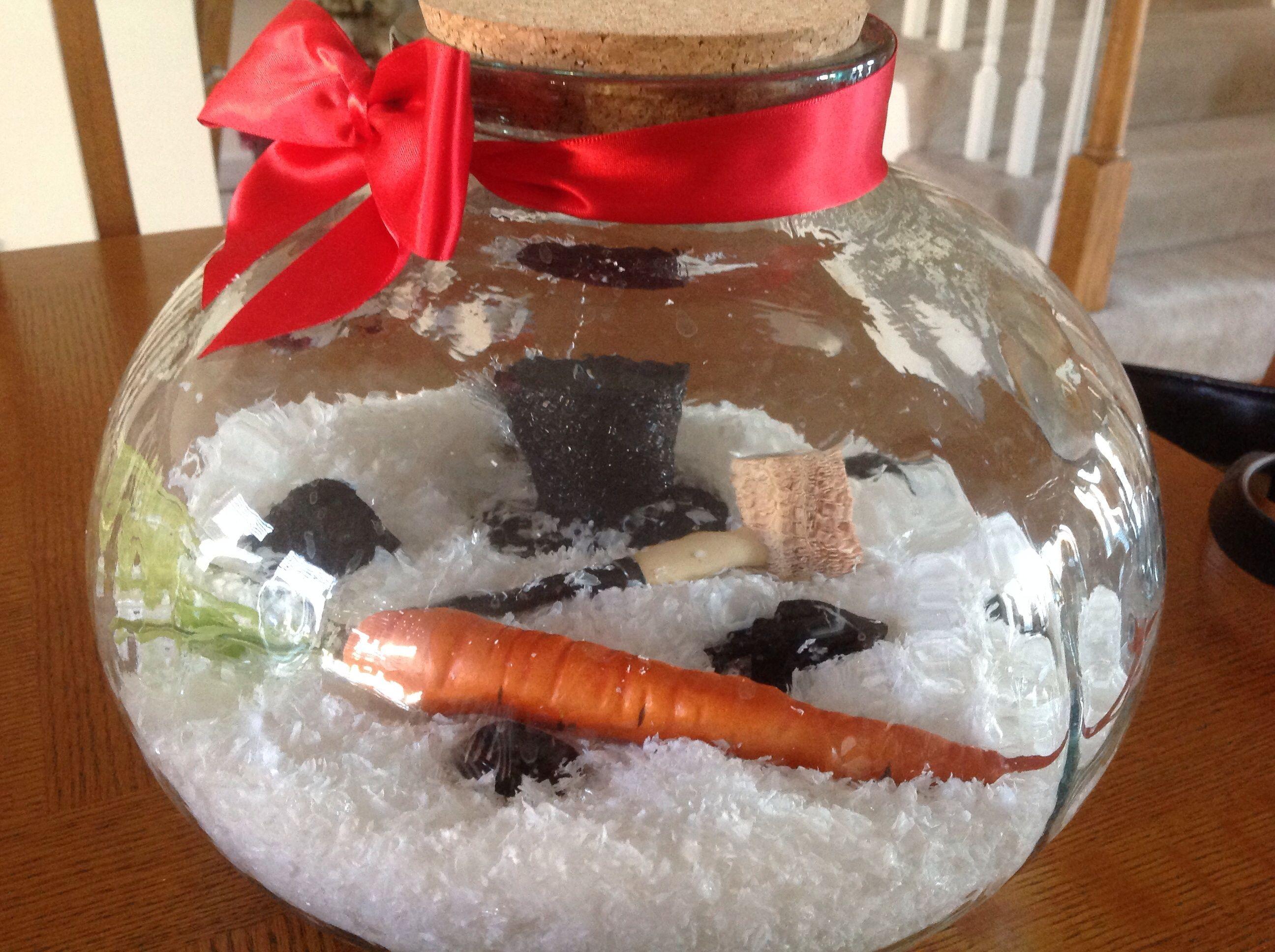 Deconstructed snowman centerpiece holiday seasonal