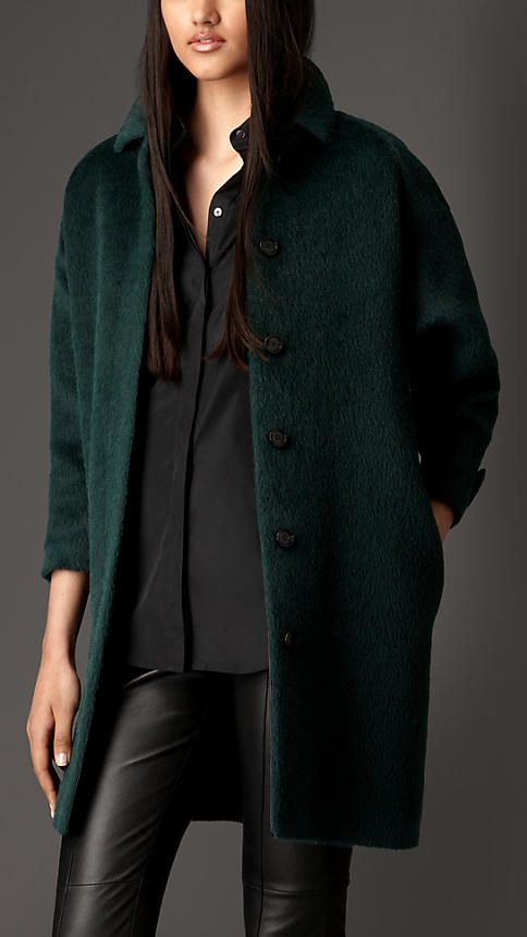 Burberry London Black emerald Alpaca Wool Overcoat - A textured overcoat in soft brushed alpaca hair and wool.  The design features rounded drop shoulders and a contrast leather undercollar.  Discover the women's outerwear collection at Burberry.com