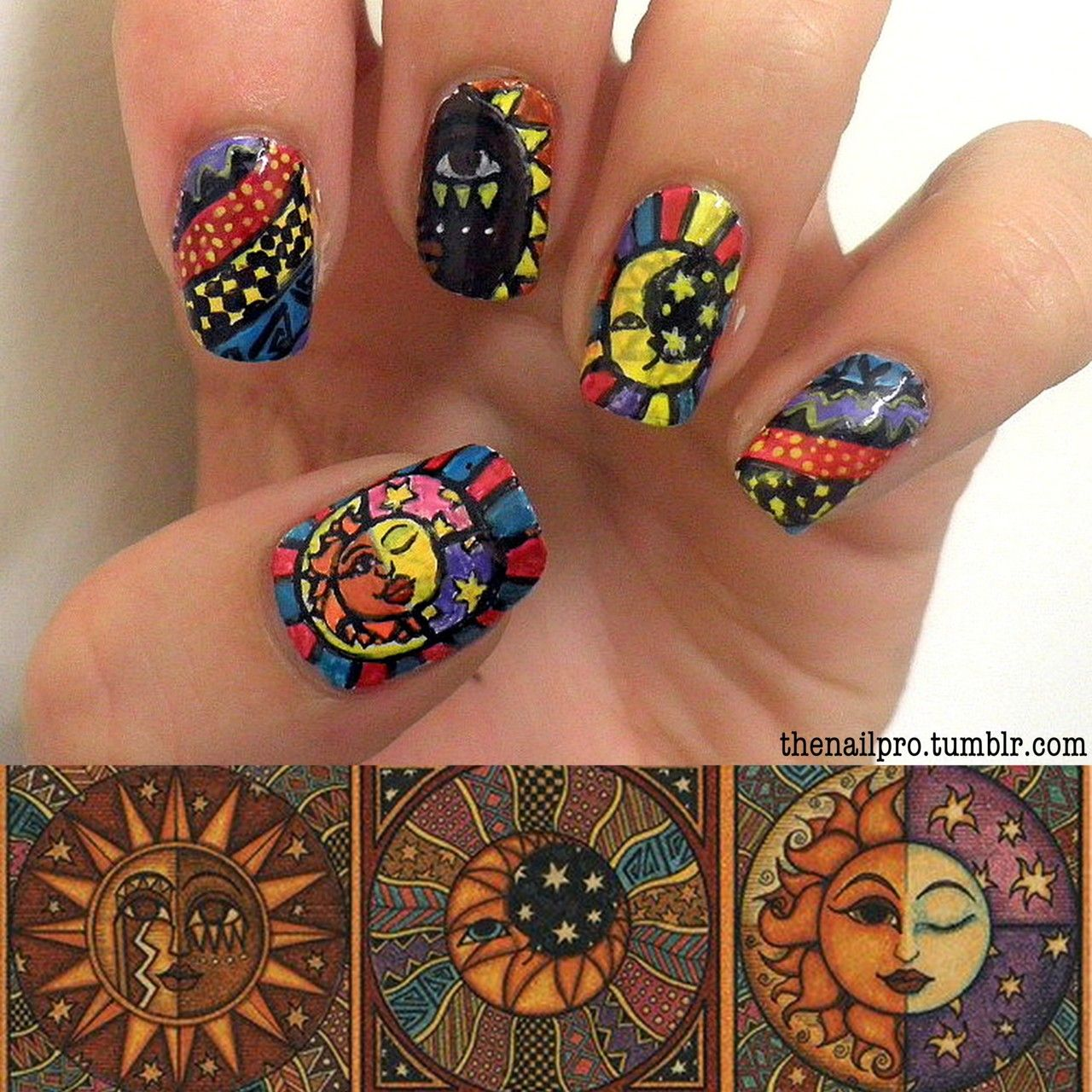 Sun and the Moon Nail Art - Food For The Nails - Sun And The Moon Nail Art - Food For The Nails.Nail It