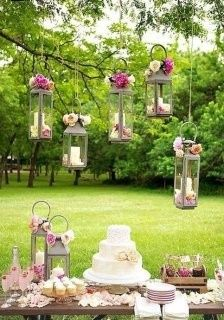 Lovely hanging lanterns with flowers