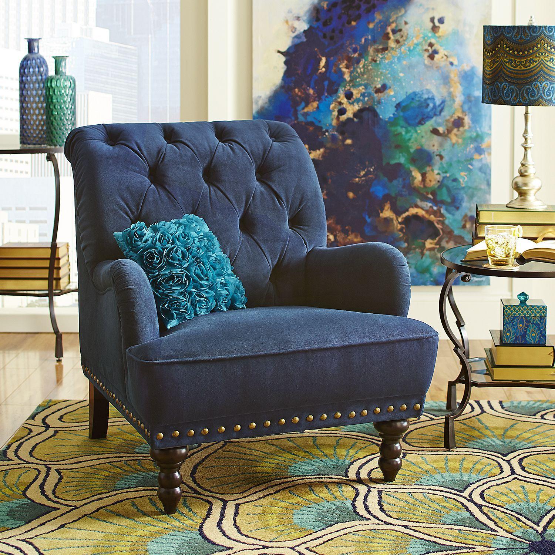 Best Chas Navy Blue Velvet Armchair Peacock Living Room 400 x 300