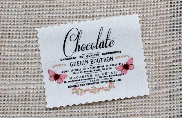 Chocolate  Label Vintage Stoffbild Applikation