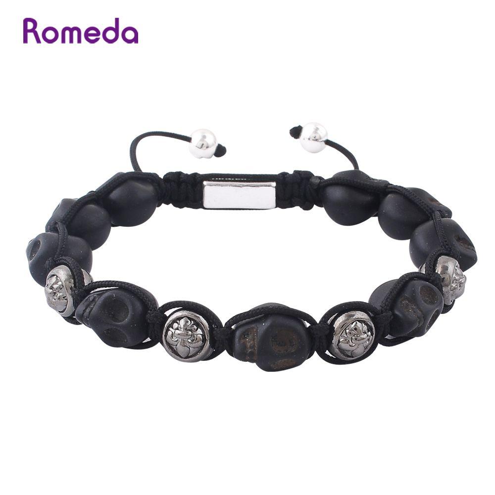 Romeda skull mens bracelets gun black white gold zinc alloy beads