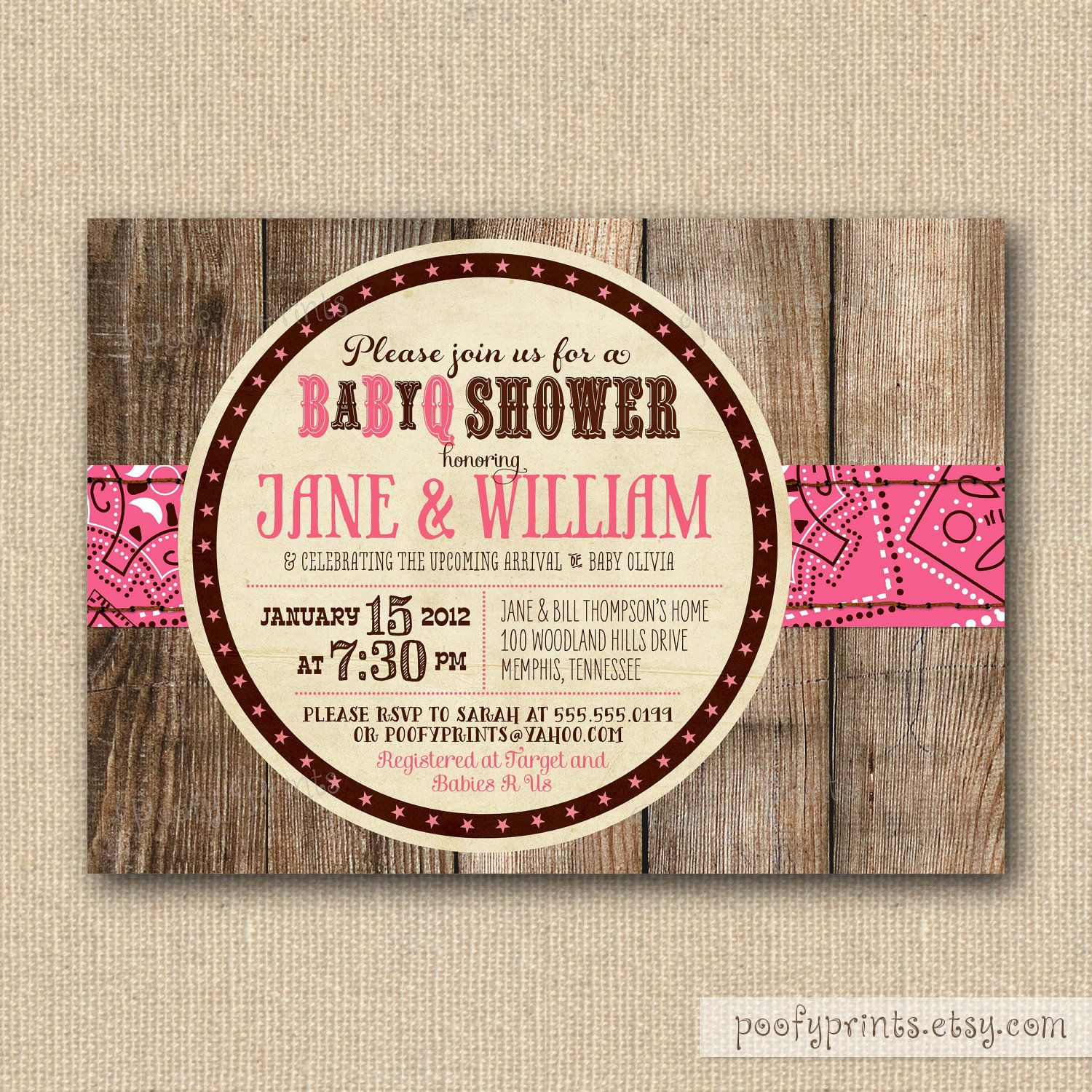 BBQ Baby Shower Invitations - Rustic Baby Girl Shower Printable ...
