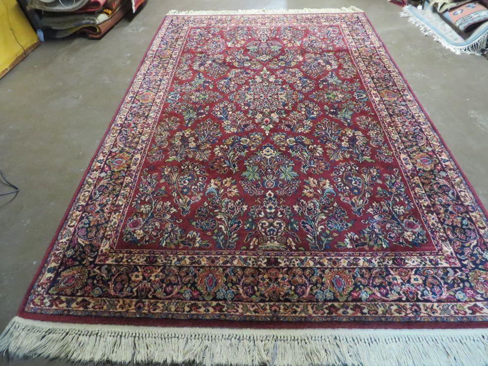 5 9 X 9 Karastan Red Sarouk Pattern 785 Wool Rug American Made Nice Karastan Floral Karastan Rugs Karastan Rugs