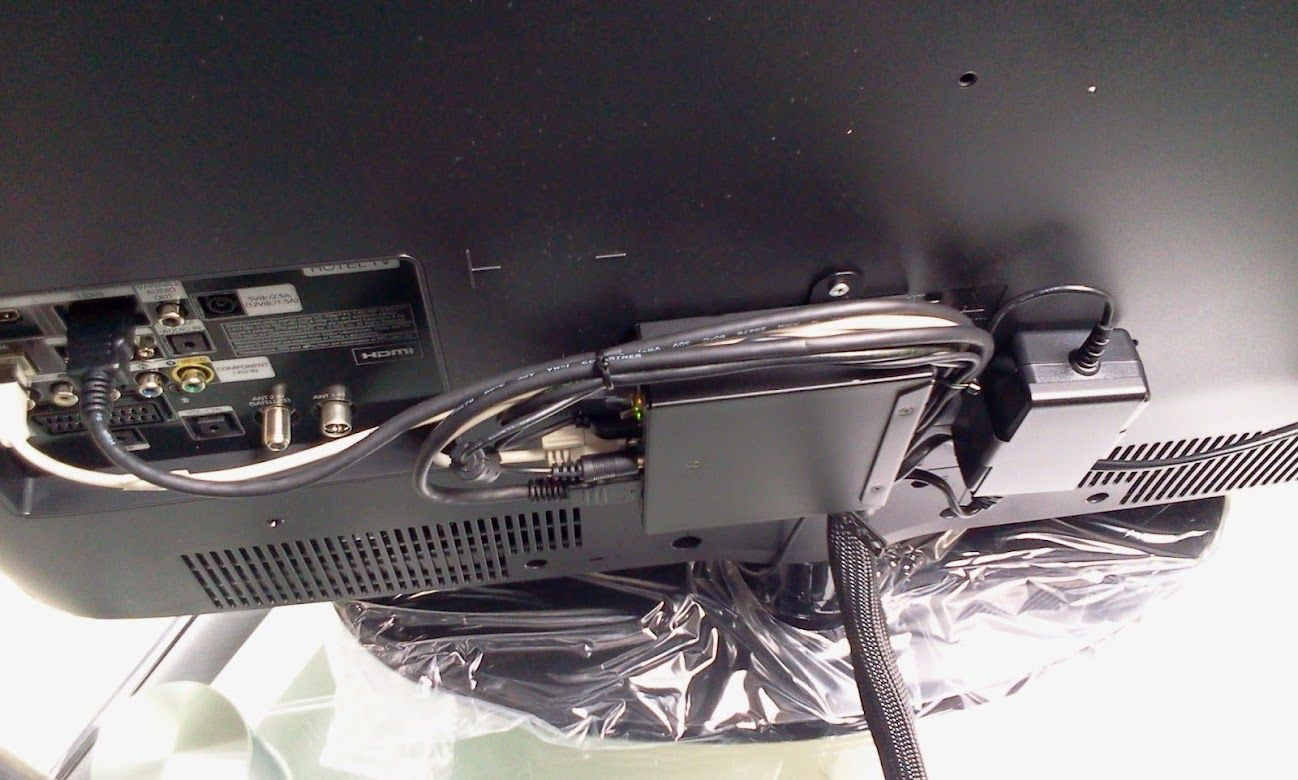 Example of Amino IPTV setTopBox installation on the back of a