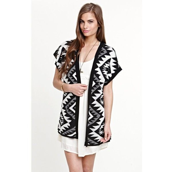 Kirra Womens Short Sleeve Tribal Cardigan ($30) found on Polyvore