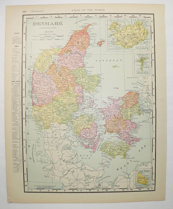 Vintage map of denmark 1900 antique map iceland european wall art vintage map of denmark 1900 antique map iceland european wall art old world gumiabroncs Image collections