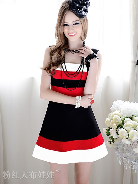 Three-colour Patched A-line Straps Dress
