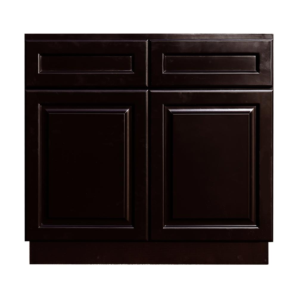 Lifeart Cabinetry La Newport Assembled 33x34 5x24 In Base Cabinet With 2 Door And 2 Drawer In Dark Espresso Base Cabinets Pantry Design Cabinet Manufacturers