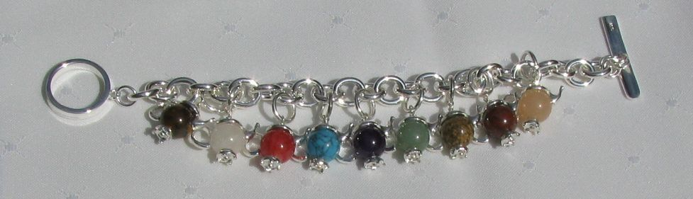 Sterling Silver Bracelet with Gemstone teapot Charms