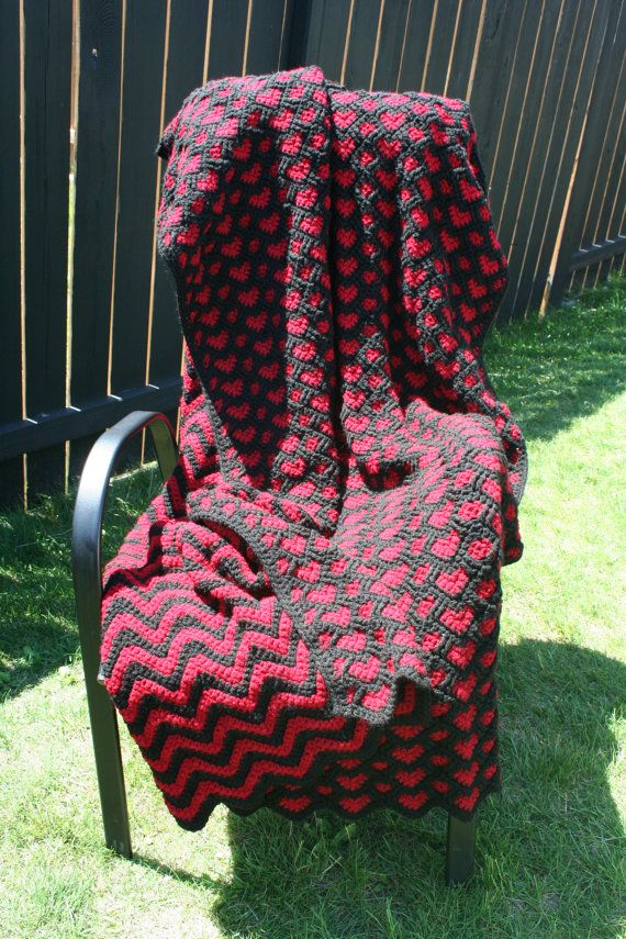Crochet Red and Black Ripple Hearts Afghan Blanket Throw ...