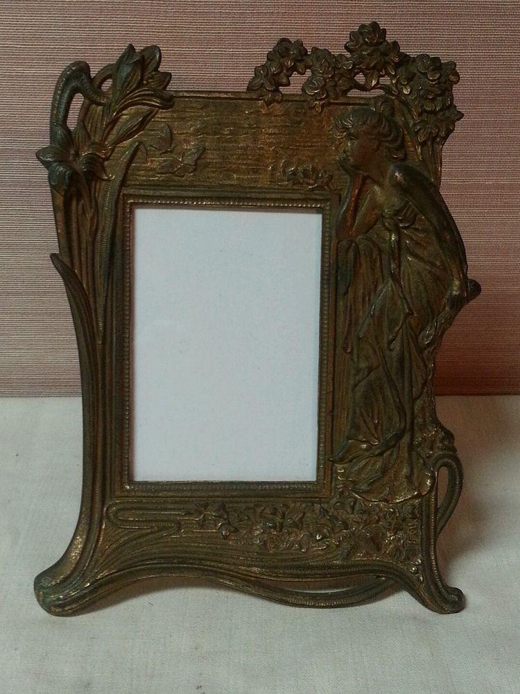Vintage Antique Art Deco Nouveau Picture Frame Lady 3 34 By 5 12