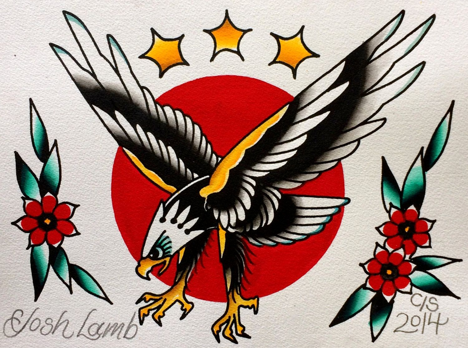 Eagle Traditional Tattoo Flash Painting Original Vintage Style Watercolor Traditional American Traditional Tattoo Traditional Tattoo Design Tattoo Wall Art