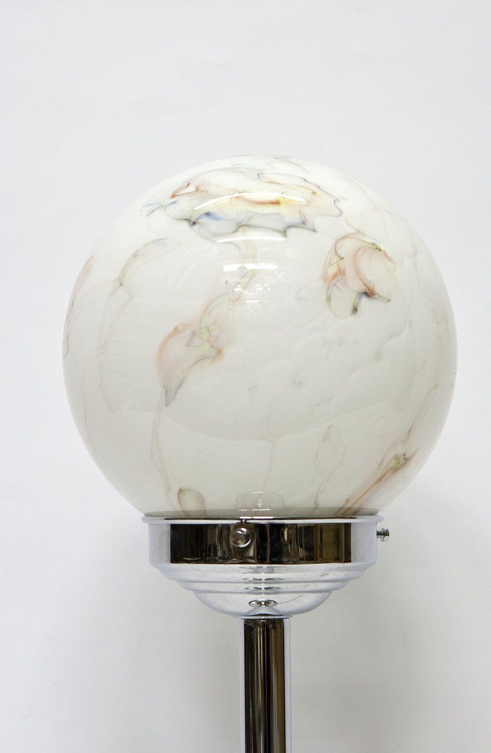 Massief Glazen Bollen.Jaren 50 Tafellamp Chroom Armatuur Met Gemarmerd Glazen Bol Ca