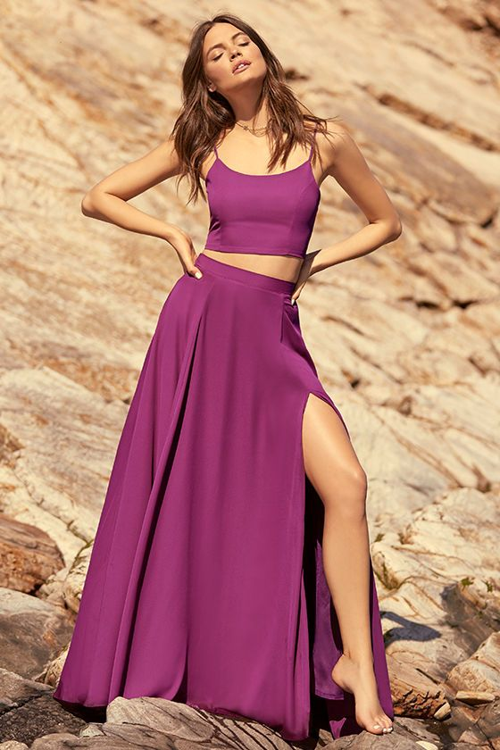 fab3272730b ... of You Magenta Two-Piece Maxi Dress is always on our mind! Soft and  breezy woven poly swings from adjustable straps into a crop top with a lace-up  back.