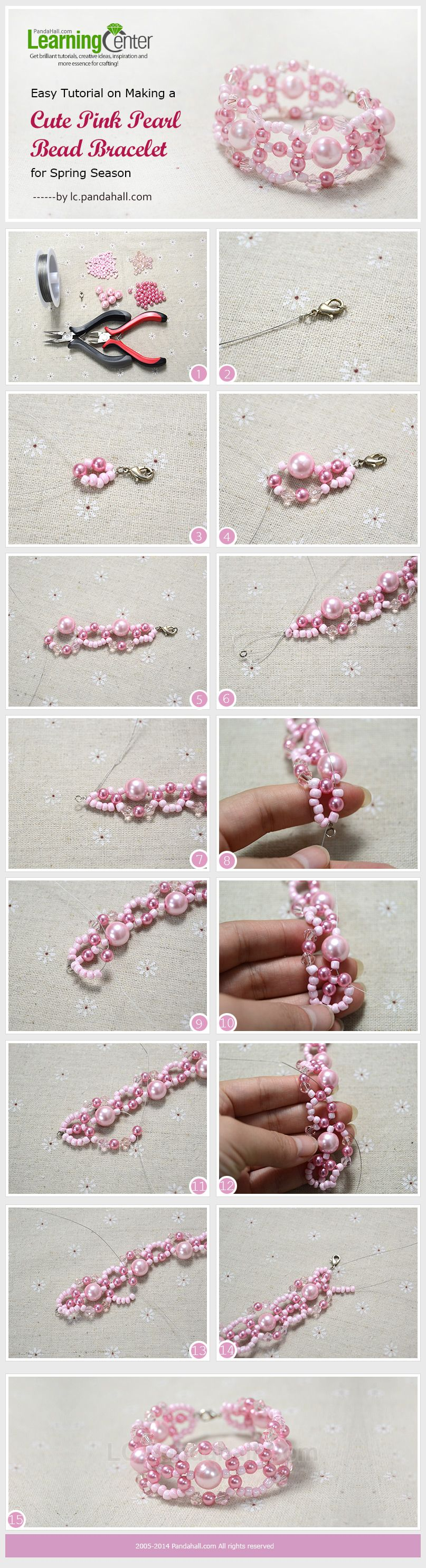 easy tutorial on making a cute pink pearl bead bracelet for spring