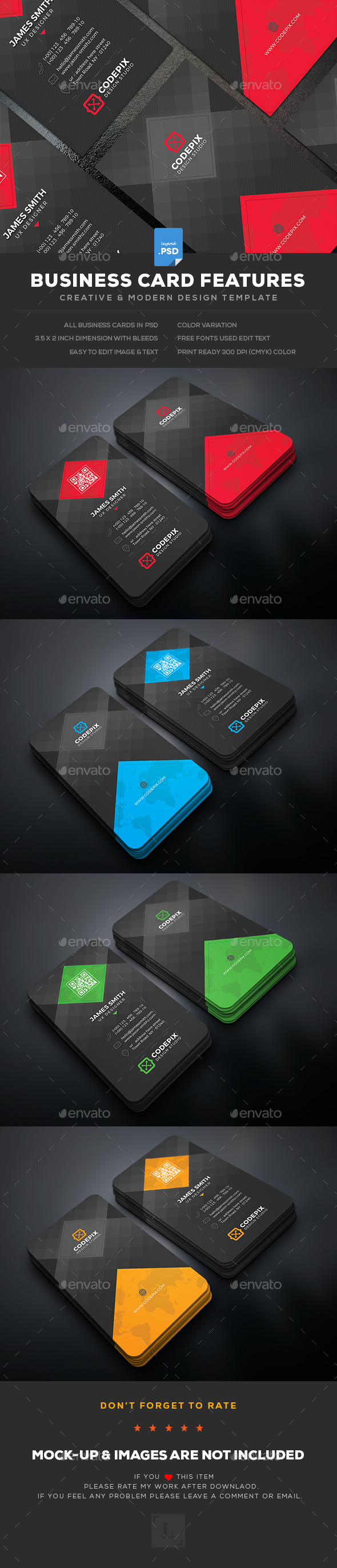 Business Card Design Template - Business Cards Design Print Template PSD. Download here: https://graphicriver.net/item/business-card/19425058?ref=yinkira