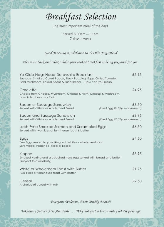 Nags Head Cafe Breakfast Menu