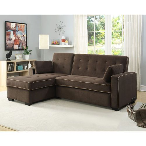 Tomas Fabric Sofa Chaise Convertible Bed Dark Java