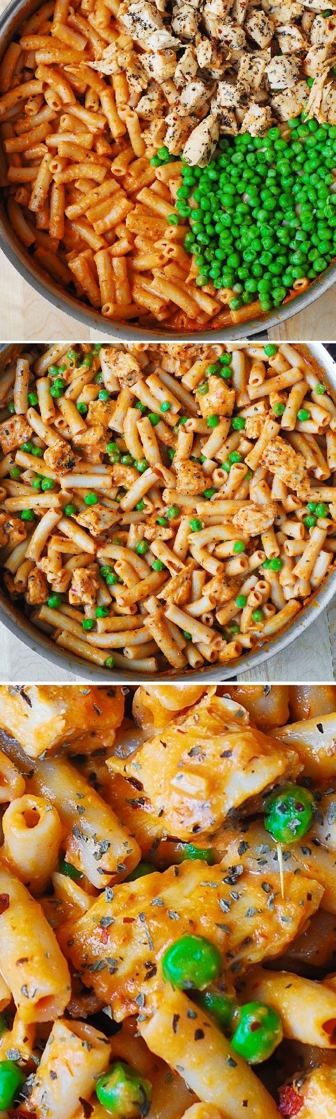 Spicy Chicken Pasta with Peas - Delicious, Italian-style pasta with a creamy Mozzarella cheese sauce! SO GOOD!