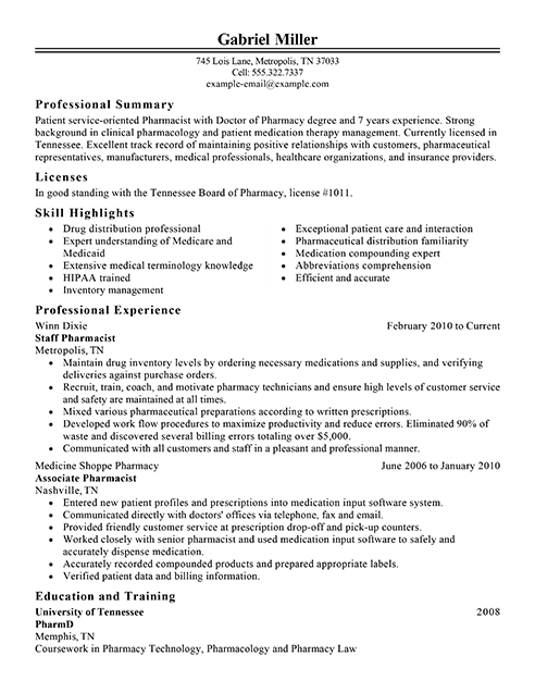 Pharmacist Resume Sample Pharmacist Resume Examples  Medical Sample Resumes  Livecareer