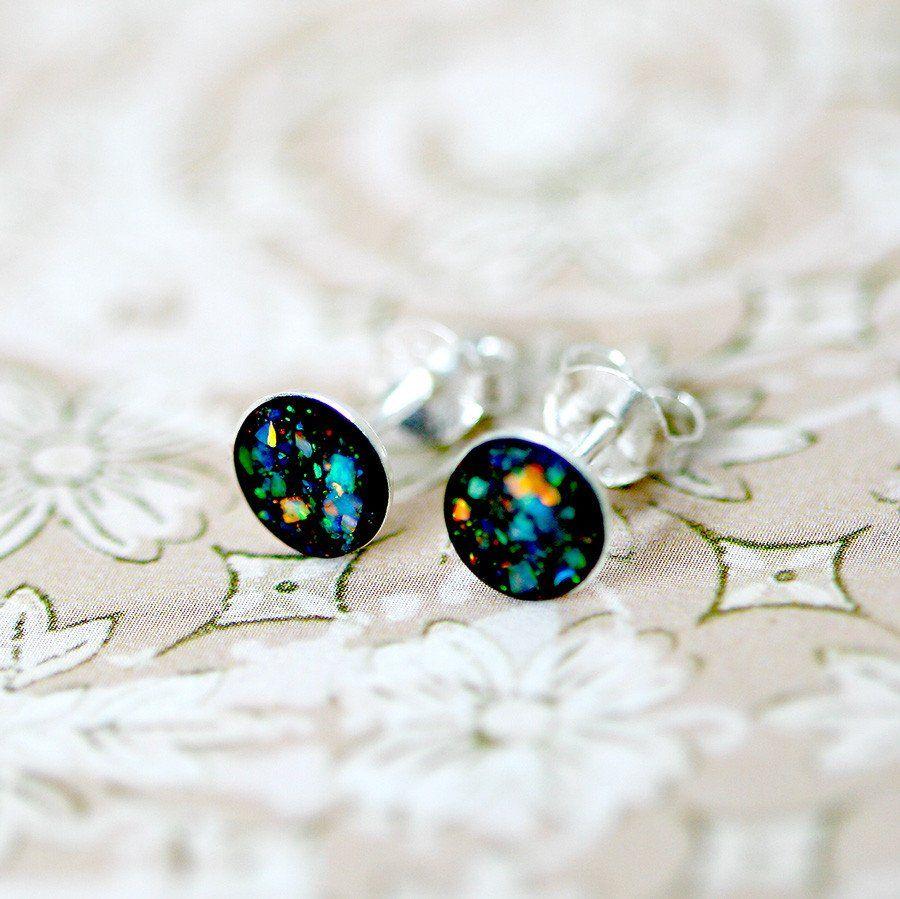 Tiny Black Opal Earrings,Opal Stud Earrings,Silver 925