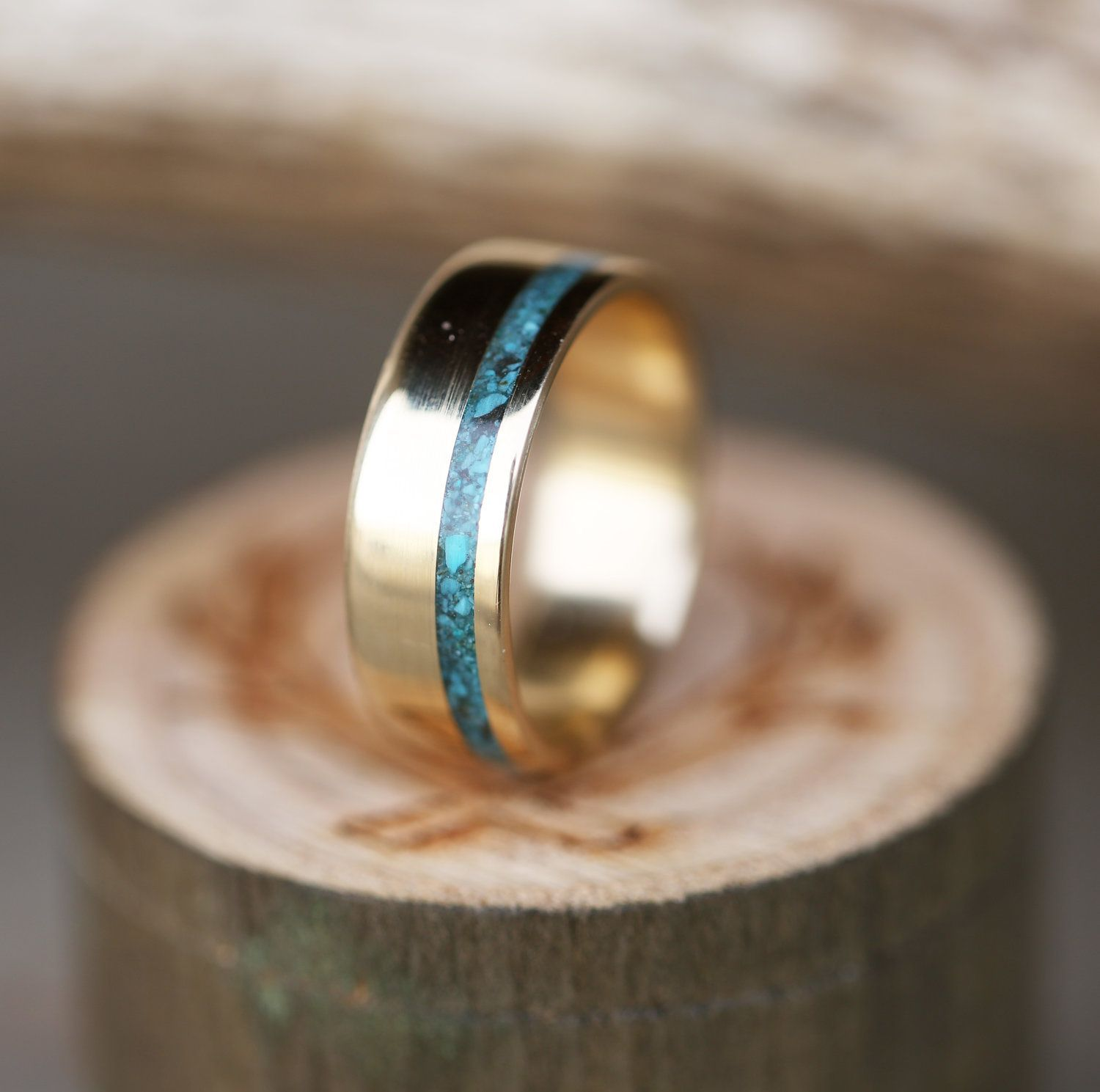 Men S Yellow Gold Wedding Band With Turquoise Inlay Handcrafted By Staghea Turquoise Wedding Rings Mens Yellow Gold Wedding Bands 14k Yellow Gold Wedding Band