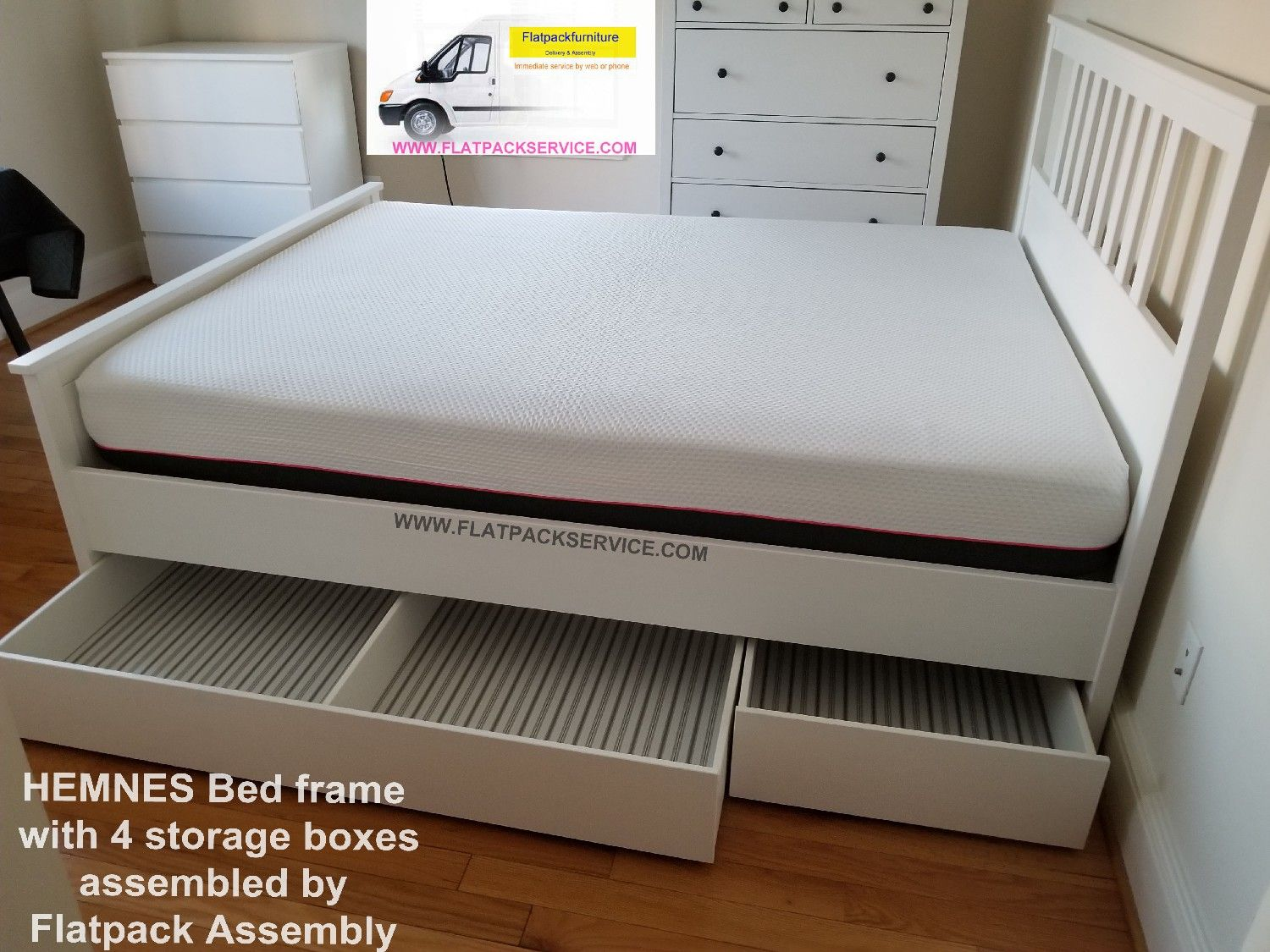 Ikea Hemnes Bed Frame With 4 Storage Boxes Article Number