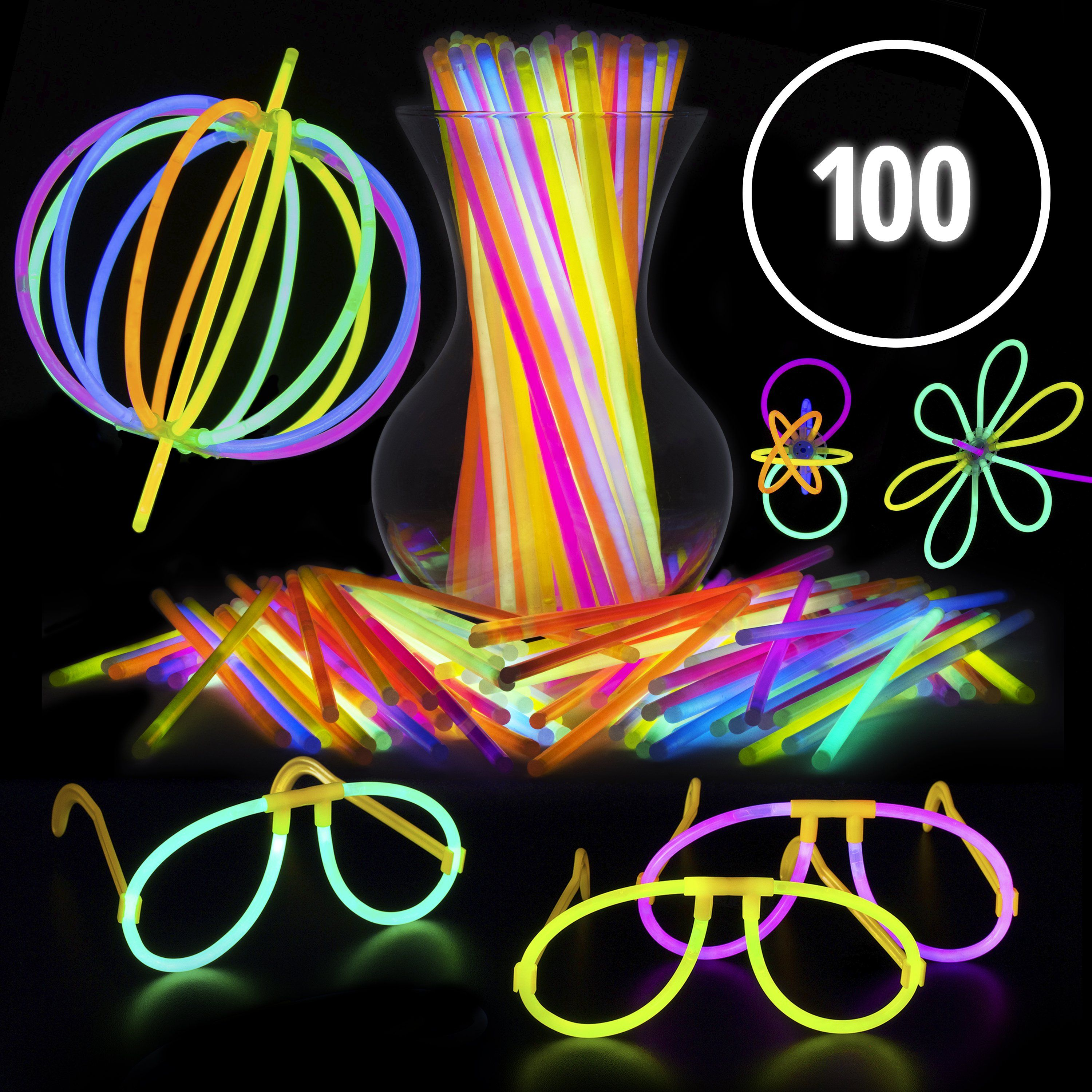 Pink Glow Stick Eyeglasses with Connectors Glow in The Dark Party Favors Neon Glow Party Eyewear