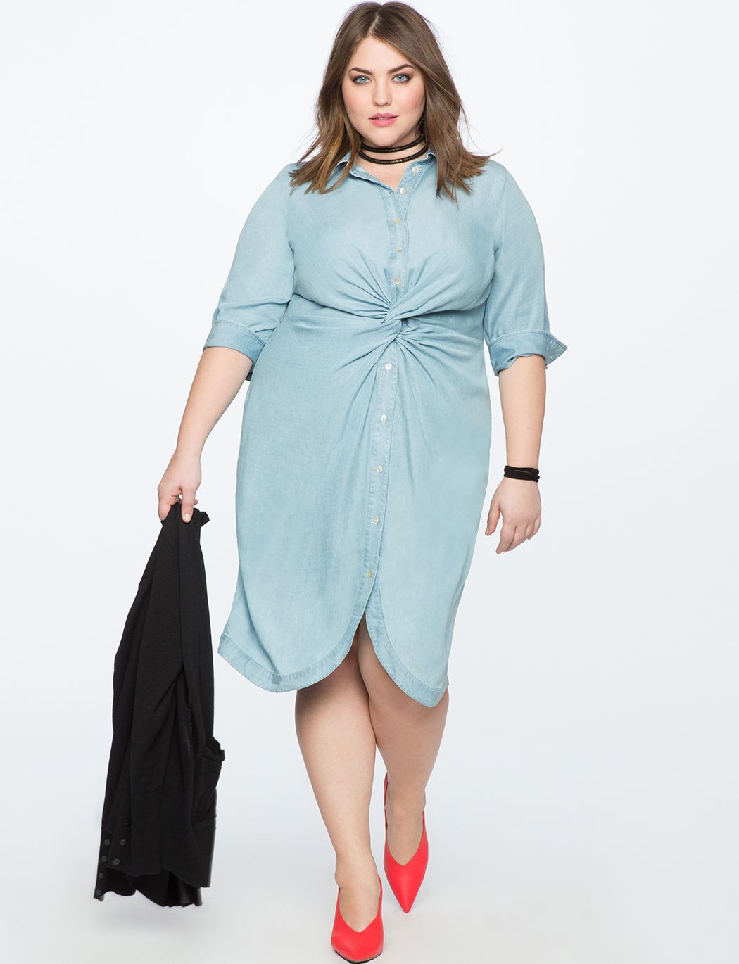 Twist Front Chambray Shirtdress | Women\'s Plus Size Dresses | Things ...