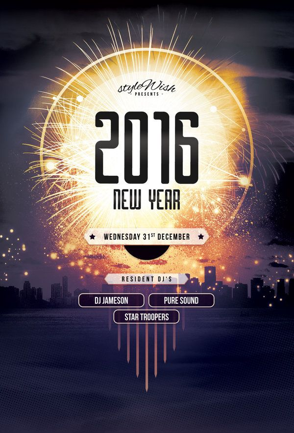 New Year Flyer Template  Buy PSD file    9  Celebrate the new year     New Year Flyer Template  Buy PSD file    9  Celebrate the new year with  this luminous poster design   print  designs  party