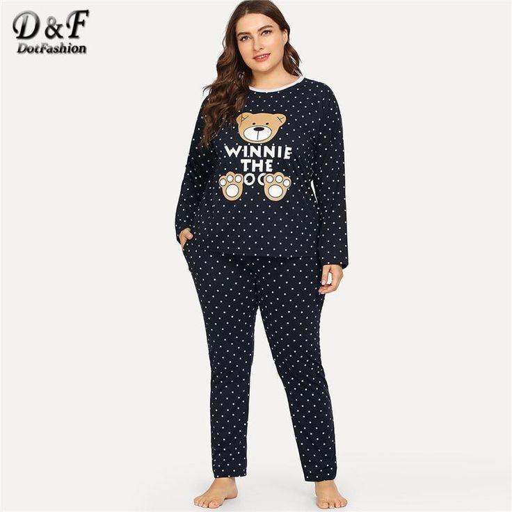 4e5425f70 Dotfashion Plus Size Black Bear Print Polka Dot Cartoon Letter Pajama Sets  Women Casual Summer Round Neck Long Sleeve Sleepwear