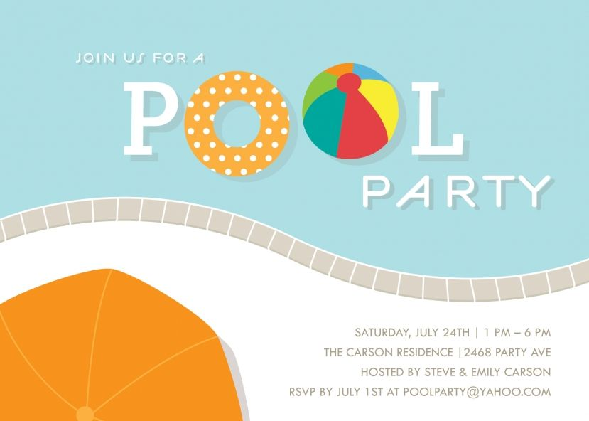 Free pool party invitation template use some divine accessories and ...
