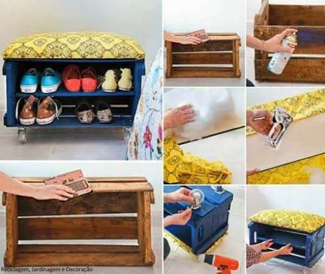 Un organizador de zapatos reutilizando una caja de madera - Ideas para decorar reciclando ...