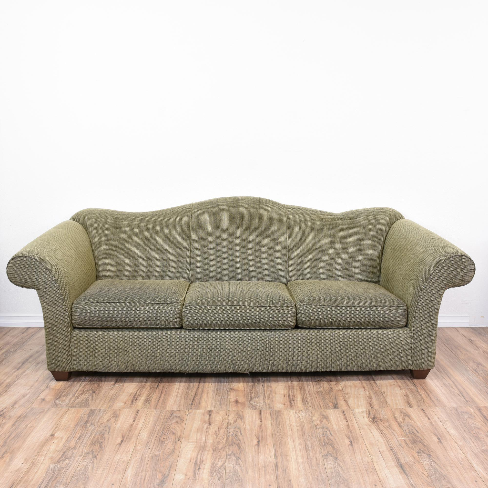 """""""Bauhaus"""" Green Tweed Camelback Sleeper Sofa Sofa"""