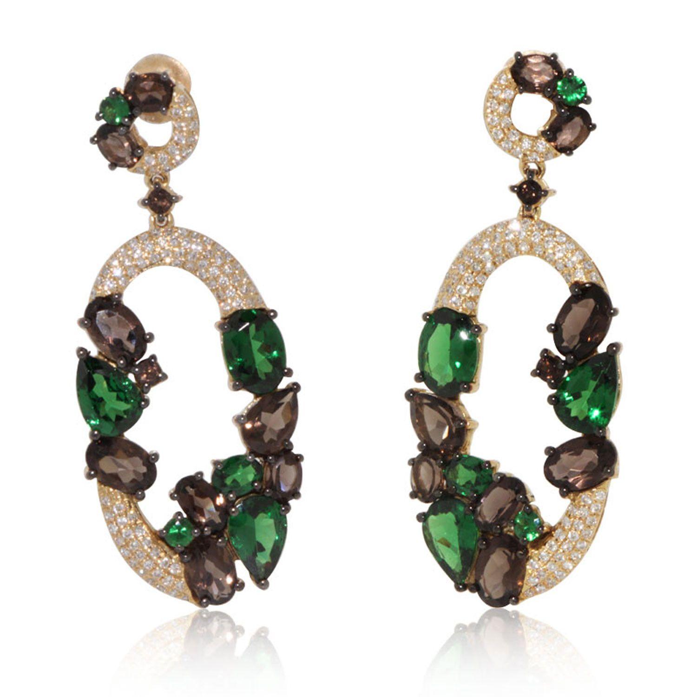 Dangling oval tzavorite and smoky quartz earrings smoky quartz