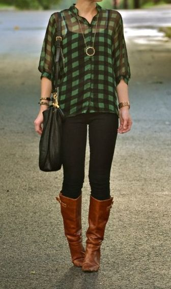 Flannel + Leggings + Riding Boots