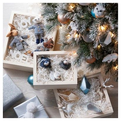 Celebrate In Style With Crisp White Brilliant Blues And Natural Elements Of Gold And Bronze I Christmas Decorations Christmas Ornament Sets Christmas Holidays