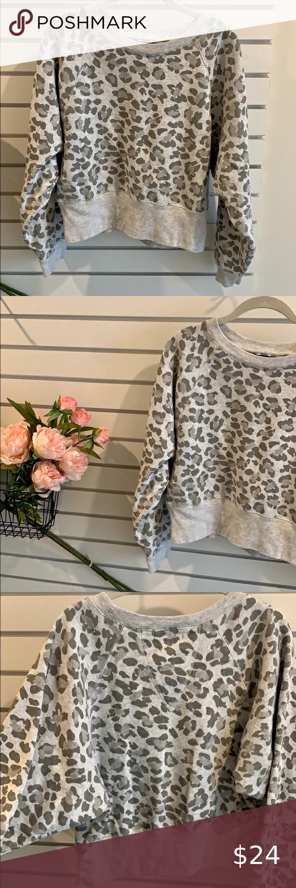 Leopard Print Crew Neck Sweatshirt Crew Neck Sweatshirt Grey Leopard Print Leopard Print Sweatshirt [ 1740 x 580 Pixel ]
