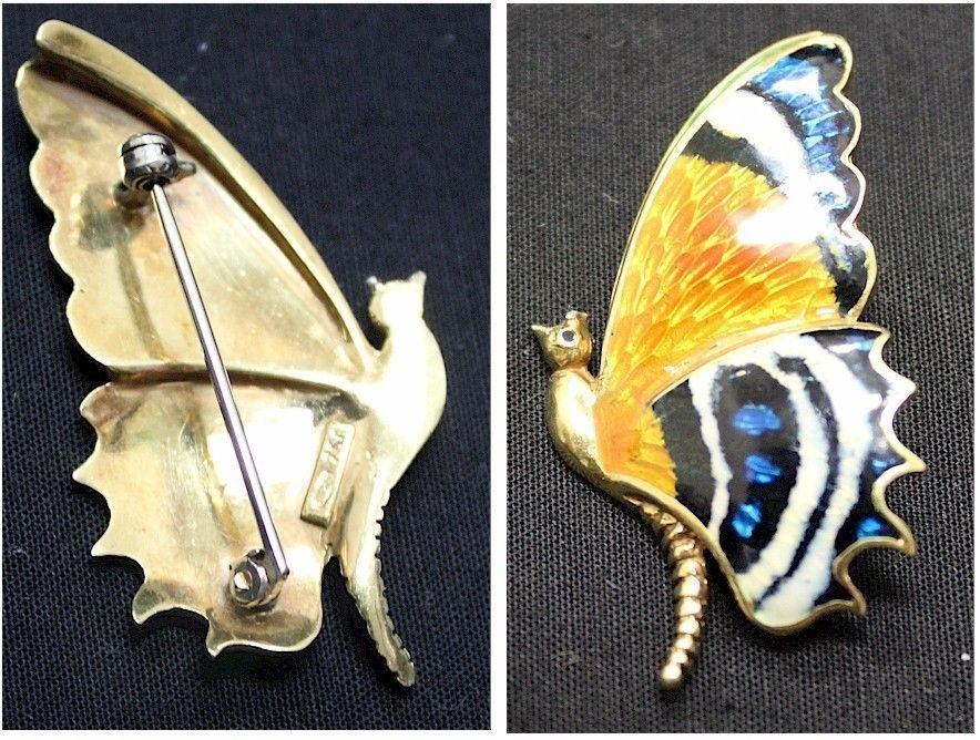 Beautiful Vintage 18K Solid Gold Butterfly Pin with Colourful Enamel Colouring