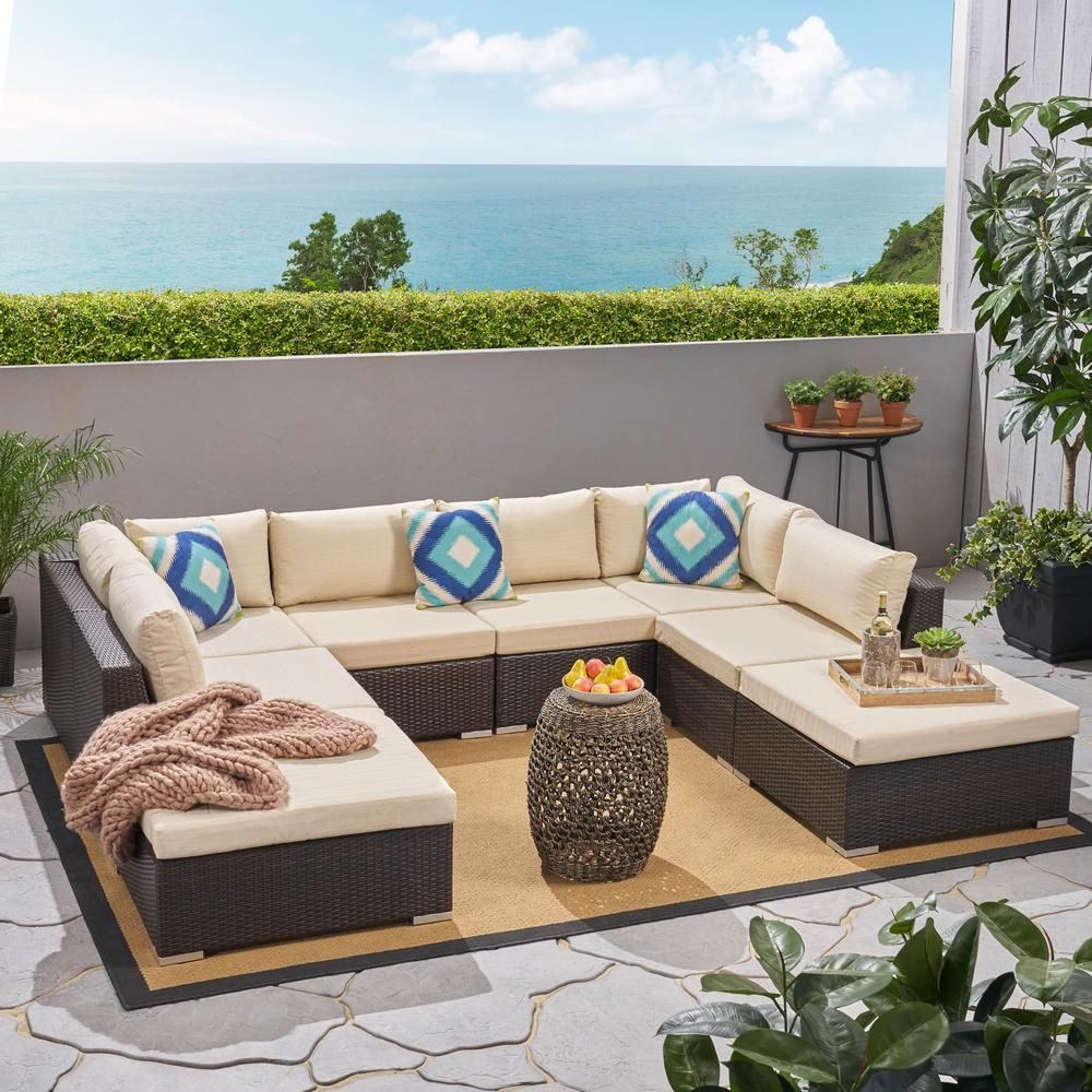 Awesome Noble House Nolan Multi Brown 8 Piece Wicker Outdoor Alphanode Cool Chair Designs And Ideas Alphanodeonline